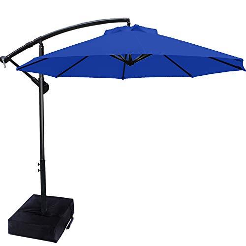 ABCCANOPY 270cm Sonnenschirm im Freien Wasserabweisende Bespannung -Gartenschirm Marktschirm,Blau