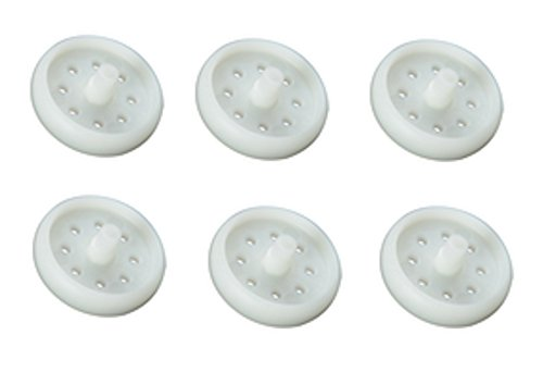 Replacement Set of 6 White Plastic Saucer Seat Wheels for Evenflo ExerSaucer