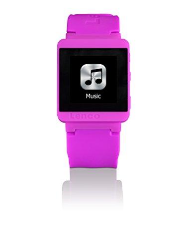 Lenco MP3 Sportwatch-100 Bluetooth Sportuhr mit MP3 (Micro-USB, Touchscreen, Schrittzähler, spritzwassergeschützt nach Norm IPX-4, Silikon-Uhrarmband) pink