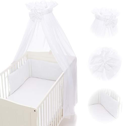 Babybett Umrandung Nestchen und Betthimmel Schleier im Set 100% Baumwolle (WEIß)
