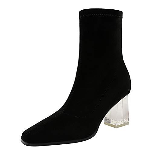 Botas de Media Pantorrilla para Mujer Calcetines de Punta Cuadrada Botas Otoño Invierno Botas Cortas Tacón de Bloque Elegante Sexy Tacones Altos Botines deslizantes