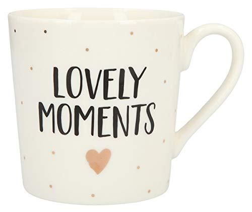 Depesche 5909.018 Tasse mit Henkel, aus Porzellan, 300 ml, mit Aufschrift, Lovely Moments, Mehrfarbig
