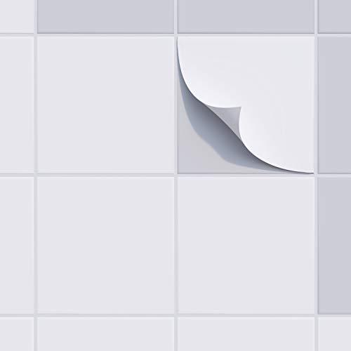 incubado Fliesenaufkleber Fliesensticker, 20 x 20 cm, selbstklebend - Fliesenfolie Klebefliesen Fliesen-Folie Fliesensticker für Bad, Küche und Co. (weiß - glänzend, 50)