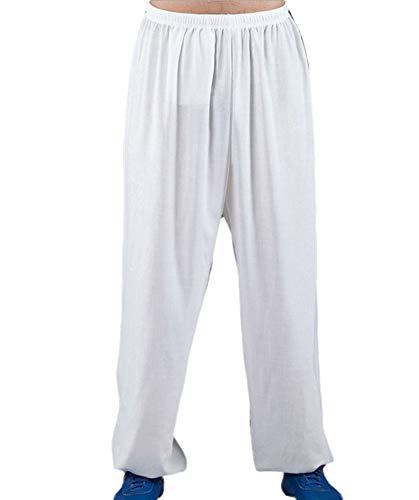 huateng Pantalones Unisex de Tai Chi Kung Fu Pantalones de Lino de algodón Pantalones Sueltos para Practicar Artes Pantalones de Yoga