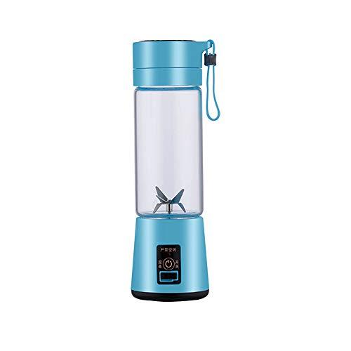 Haushalt Mini Saft Tasse 380ML Entsafter Und Mixer, Tragbar Frucht- Und Gemüsesaft, Der Elektrischen Saftmischer Mit USB-Akku Und 4-Blatt-Klinge Auflädt (Blau)
