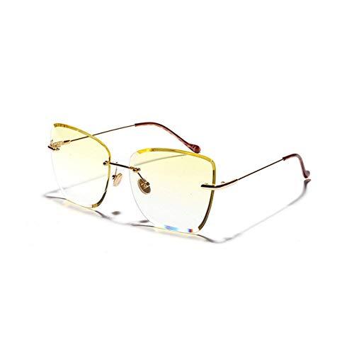 XCVB Dames zonnebril Transparant gekleurde bril Metalen montuur UV-bescherming Dames Randloze zonnebril met groot montuur Retro Ocean, C2