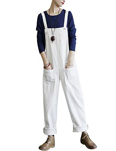 Bigassets Damen Baumwolle Cord Jumpsuits Spielanzug Hose Latzhose mit Taschen White