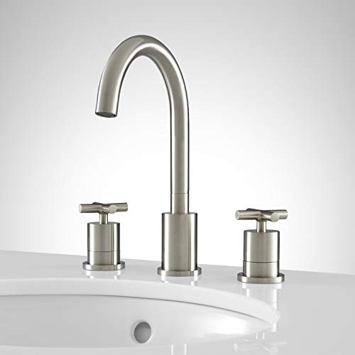 Signature Hardware 922093 Exira Widespread Bathroom Faucet with Pop-Up Drain Assembly