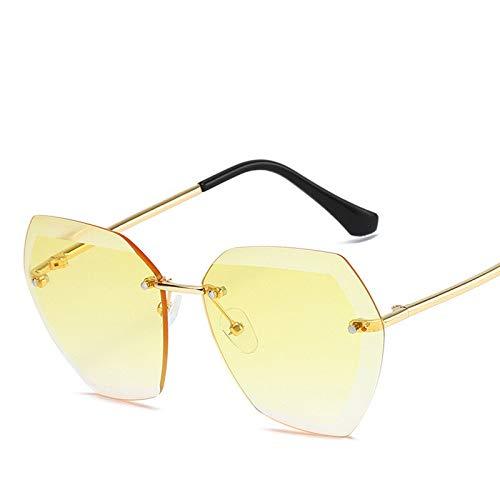 Gafas de sol para niños sin montura de metal clásico para mujer (lentes de conducción: dorado)