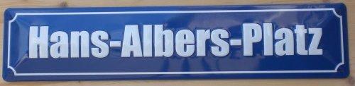 Strassenschild Hans Albers Platz Hamburg St. Pauli aus Stahlblech - gewölbt und geprägt - 46x10 cm