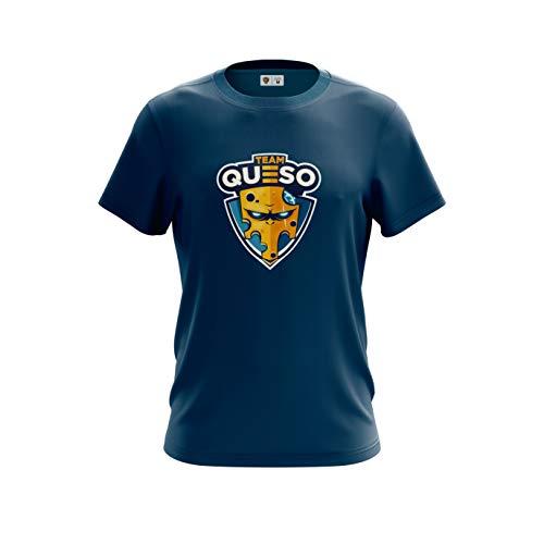 Team Queso Logo Camiseta, Azul, XS para Hombre