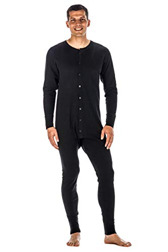 Mens Union Suit - Waffle Knit Thermal Mens Onesie Pajamas - Black - Large