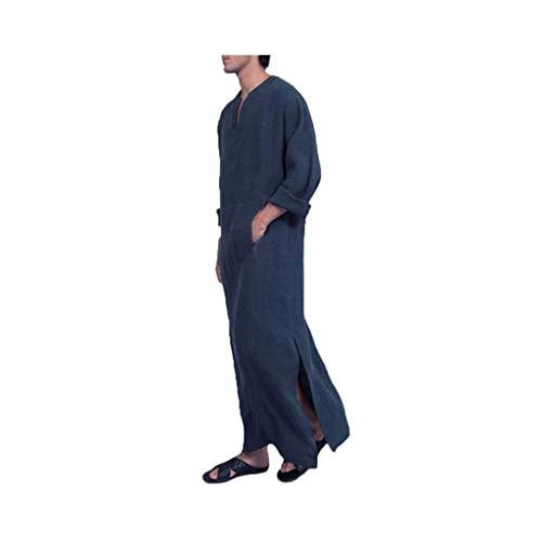 HUAZONG Vestido musulmán para hombre, casual, étnico, musulmán, Thobe de lino, estampado de kaftán, Oriente Medio, árabe saudita, vestidos con bolsillos