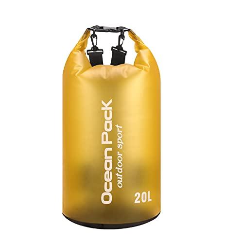 RAPECOTT Borsa Impermeabile(Giallo) Dry Bag 20L, Zaino impermeabil, Borsa Impermeabile Mare, Zaino Trekking con Tracolla Regolabile per Trekking, Kayak, Pesca,Campeggio, Rafting etc.