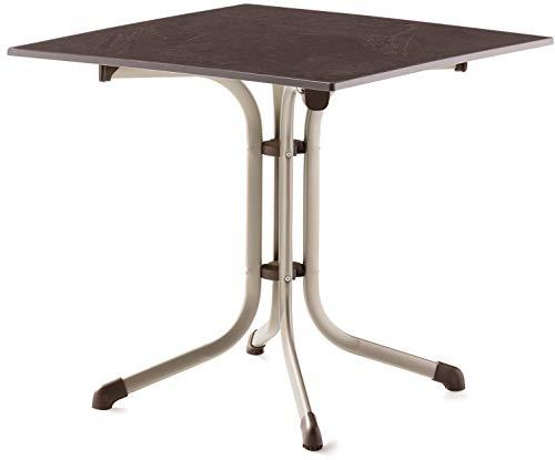 SIEGER 3130-60 Boulevard-Klapptisch mit vivodur-Platte 80x80 cm, Stahlrohrgestell, Tischplatte Schieferdekor, Champagner/Schiefer Mocca