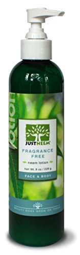 JustNeem Lotion - Fragrance Free - Great for Eczema, Psoriasis, Rosacea & more! Naturally Provides Instant and Lasting Relief for Severely Dry, Cracked, Itchy or Irritated Skin - Face & Body - 8oz