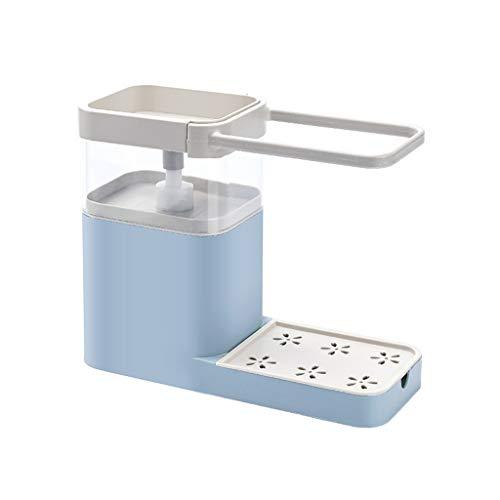 Dispensador de bomba de jabón multifuncional con soporte para esponja Estante para lavavajillas Limpieza de contenedores de líquido Prensa Organizador de jabón Limpiador de cocina Herramientas Materia