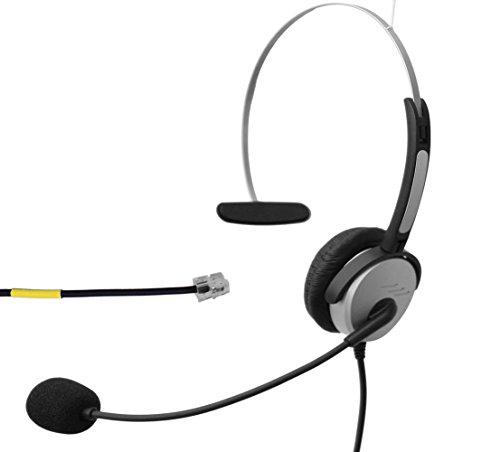 Voistek Corded Mono Monaural Call Center Telephone RJ Headset Noise Cancelling Headphone with Mic Comfort Fit for Avaya 1608 9611 Panasonic KX-T Yealink T20 Cisco 7902 Snom 300 IP Phones (H10DKXT)