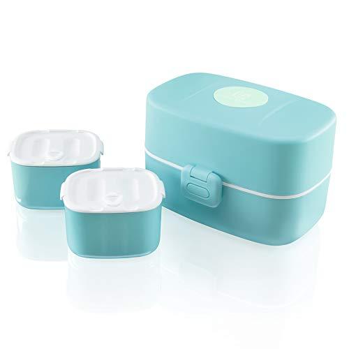 Look Back Kinder Brotdose - 3 integrierte praktische Dosen - Auslaufsichere Lunchbox mit extra kinderfreundlichem Besteck (blau)