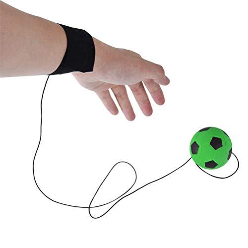 Flybloom Bouncy Handgelenk Band Rubber Ball Elastische Schnur Rebound Finger Übung Sport Spielzeug (Grüner Fußball)
