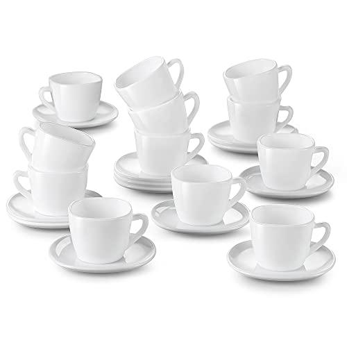 MALACASA serie Esmer Juego de 12 Tazas para Espresso con Platillos a Juego - Vidrio Opal Juego de Cafe - Tazas de Café Italiano 85ml
