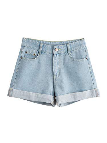 SweatyRocks Women's Retro High Waisted Rolled Denim Jean Shorts with Pockets (Large, Blue#5)