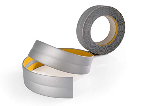 Quest Weichsockelleiste selbstklebend, Silber, Knickwinkel Eckleiste Winkelprofil PVC Kunststoff Gummi, 18x18, 5 Meter