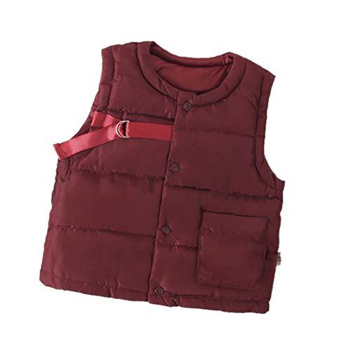 Miyanuby Kinder Baby Jungen Mädchen Mantel Button-up Feste Runde Kragen Winter Warme Fleece Gilets Westen Jacke Oberbekleidung