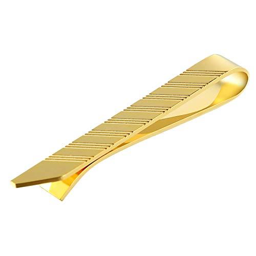 Bishilin Herren Edelstahl Krawattenklammer Hemd Glatt Rechteck Krawattennadel Gold für Hochzeit