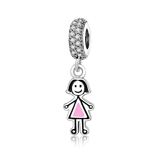 QIAMUCJC 925 Plata esterlina Pareja niña y niño Colgante Abalorios se Adapta a la joyería Original de la Pulsera del Encanto de Pandora