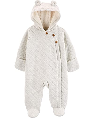 Carter's Baby Quilted Hooded Bunting, Pram, Light Grey, 9 Months