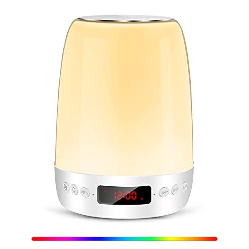 Taipow Lampade da Comodino, Lampada da Tavolo, Lampada LED, Luce Notturna con Altoparlante Bluetooth, Abat jour da Comodino, Luce Notturna Bambini