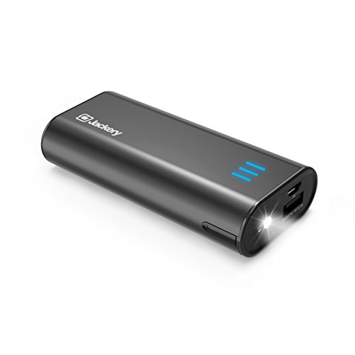 Jackery Portable Charger Bar Power Outdoors 6000mAh Pocket-Sized External Battery Pack Fast Charger Power Bank with Emergency LED Flashlight for iPhone, Samsung and Other Devices - Black