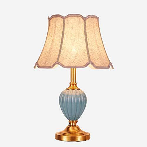 lampara de lectura American Ceramic lámpara de mesa de cobre octogonal de tela hecha a mano de cabecera E27 lámpara de escritorio con el botón del interruptor for la sala Lámpara de mesa