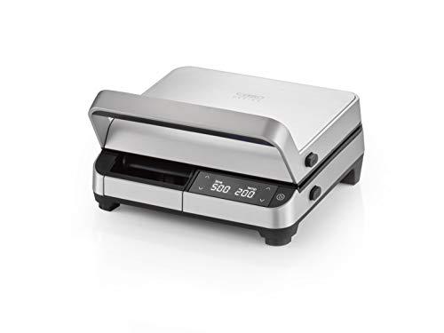 CASO Kontakgtgrill DG 2000 Watt Leistung, 60-220°C einstellbar, eloxiertes Aluminium Gehäuse, Fettablauf, LED Display