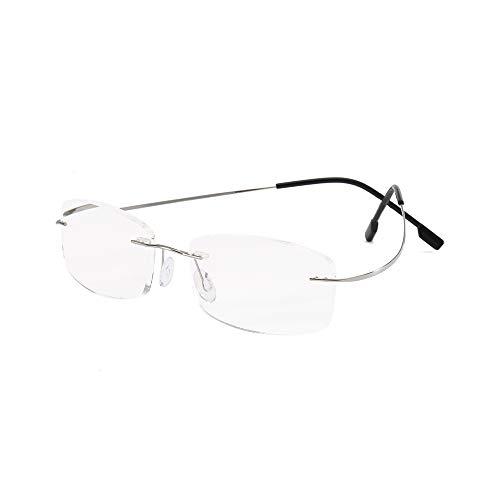 MMOWW Gafas de lectura sin marco gafas de ayuda de lectura ultraligeras unisex, gafas de computadora de titanio con lente de resina(plata,+2.5)