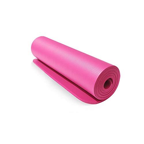10mm 183 * 61cm NBR Yoga Pilates Mat Pad Antideslizante Gruesa Almohadilla de Fitness Pilates Mat for al Aire Libre Ejercicio de la Gimnasia Estera de la Aptitud de la Yoga (Color : Rosado)