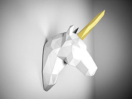 Papertrophy 3D Einhorn weiß Gold Deluxe Edition inkl. Kleber und Überraschungs Papiertier