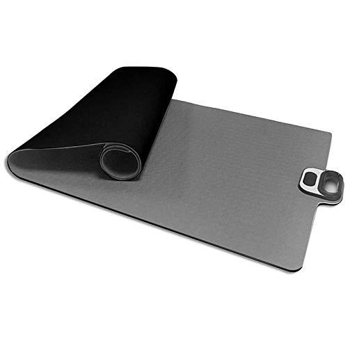 Runtodo Esterilla de yoga con soporte para teléfono y temporizador de cuenta regresiva, alfombrilla de fitness y ejercicio premium de 1/4 pulgadas de grosor para yoga, pilates, gris