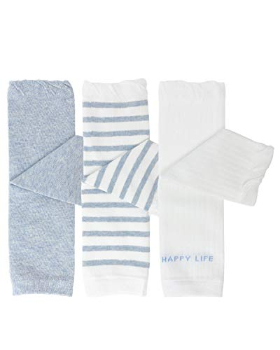 Bowbear 3 Pair Baby and Toddler Leg Warmers, Happy Legs Blue
