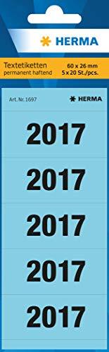 HERMA 1697 Jahreszahlen Aufkleber 2017 für Ordner (60 x 26 mm, Papier, matt, blickdicht) selbstklebend, permanent haftende Textetiketten, 100 Etiketten, blau