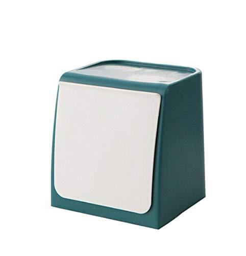 XZHH Mini-vuilnisbak Mini-vuilnisbak Keuken Badkamer Glazen Sticker Vuilnisbak Blauw 14,5 * 12,5 * 14,9 cm