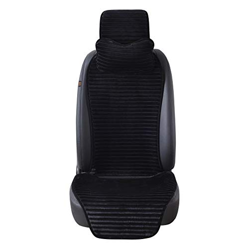 Happy Shop Car Seat Cover Winter Nano Velvet Car Seat Cover With Headrest 5 Colored Universal Car Seat Cushion Protector Car-Styling Protector (Color : Black)