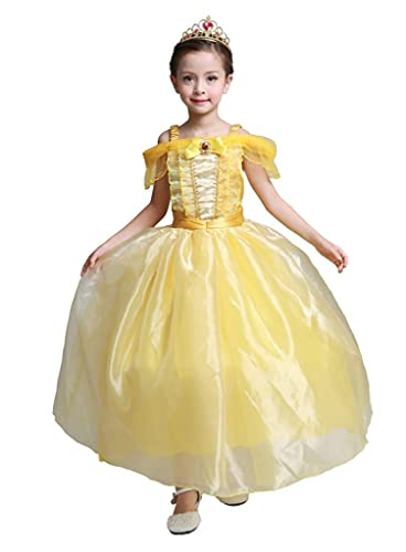Lito Angels Vestido de Princesas Bella para Niña Disfraz de Halloween Carnaval Fiesta Cumpleaños Festival Talla 5-6 Años