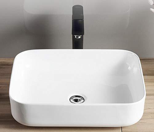 warenplus2014 Waschbecken Aufsatz aus Keramik eckig, weiß, 50 x 40 / Bad Keramikwaschbecken