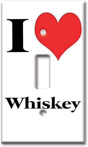 Interruptor de luz de noche placa de cubierta - Interruptor de palanca de una sola banda/placa de pared de tamaño superior - I Heart Whiskey