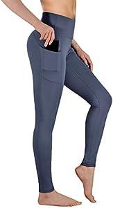 Gimdumasa Pantalón Deportivo de Mujer Cintura Alta Leggings Mallas para Running Training Fitness Estiramiento Yoga y Pilates GI188 (Gris azul, XS)