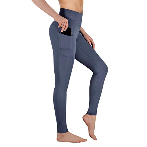 Gimdumasa High Waist Yoga Pants with Pockets Tummy Control Workout Pants for Womens 4 Way Stretch Yoga Leggings with Pockets for Sport Gym GI188 (Dark Gray, L)