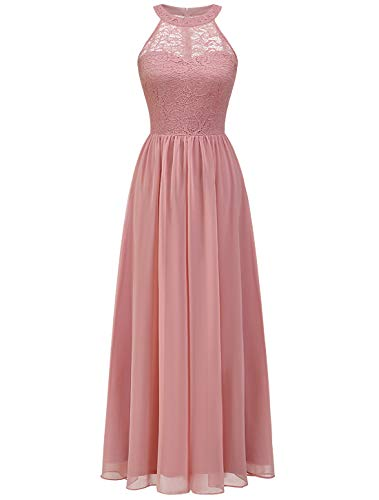 WedTrend Damen Spitzenkleid Brautjungfer Kleid Lang Chiffon Abendkleid Party Cocktailkleid Neckholder Sommerkleid WT0201 Blush 2XL