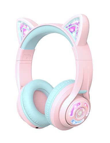 iClever Kopfhörer für Kinder, Katzen Ohren LED Light Up Kinder Bluetooth kabellose Faltbare Kopfhörer Over Ear für Schule/Tisch/PC